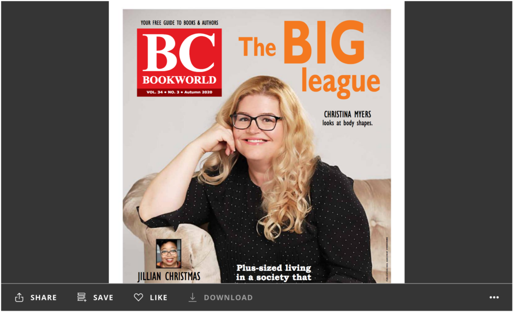 Cover of BC BookWorld with Christina Myers on the cover