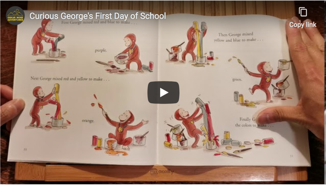 Screen shot of Oskar Mose Adventures YouTube video, about to begin Curious George book